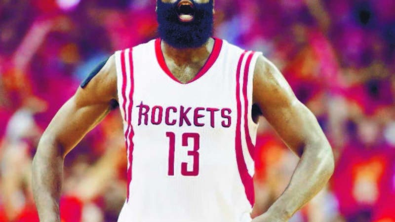 HOUSTON, TX - MAY 17: James Harden #13 of the Houston Rockets celebrates in the fourth quarter against the Los Angeles Clippers during Game Seven of the Western Conference Semifinals at the Toyota Center for the 2015 NBA Playoffs on May 17, 2015 in Houston, Texas. NOTE TO USER: User expressly acknowledges and agrees that, by downloading and/or using this photograph, user is consenting to the terms and conditions of the Getty Images License Agreement.   Scott Halleran/Getty Images/AFP == FOR NEWSPAPERS, INTERNET, TELCOS & TELEVISION USE ONLY ==