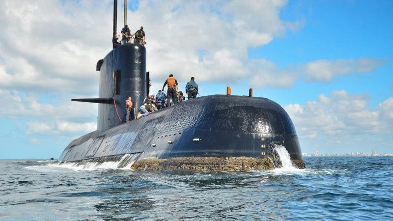 FILE - In this undated file photo provided by the Argentina Navy shows an ARA San Juan, a German-built diesel-electric vessel, near Buenos Aires, Argentina. Argentina's navy announced early Saturday, Nov. 17, 2018, that searchers found the missing submarine ARA San Juan deep in the Atlantic a year after it disappeared with 44 crewmen aboard. (Argentina Navy via AP File)