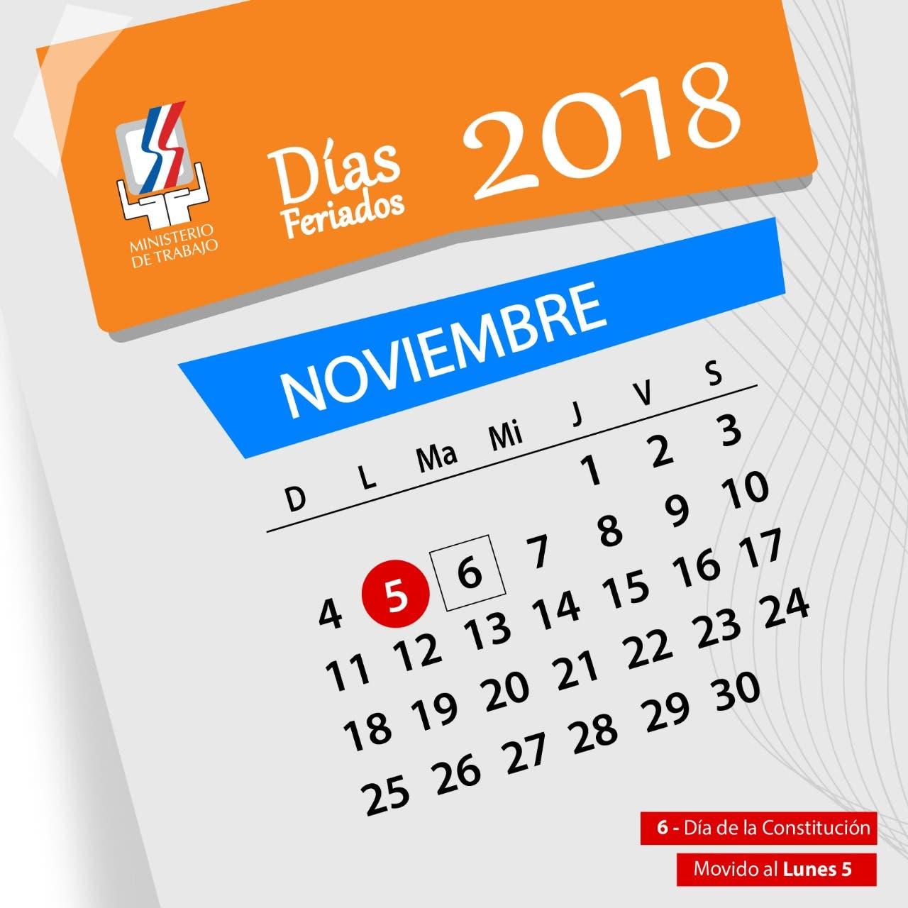 Ministerio de Trabajo: El feriado del Día de la Constitución se cambia para el lunes 05