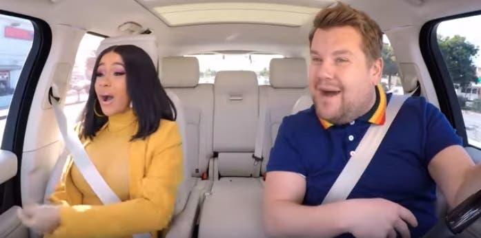 Cardi B intentó conducir en Carpool Karaoke y todo fue un desastre