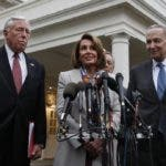 House Democratic leader Nancy Pelosi of California, center, speaks to the media after meeting with President Donald Trump on border security, Wednesday, Jan. 2, 2019, at the White House in Washington. With her are House Minority Whip Steny Hoyer, D-Md., left, Senate Minority Leader Sen. Chuck Schumer of N.Y., right, and Sen. Dick Durbin, D-Illinois. (AP Photo/Jacquelyn Martin)