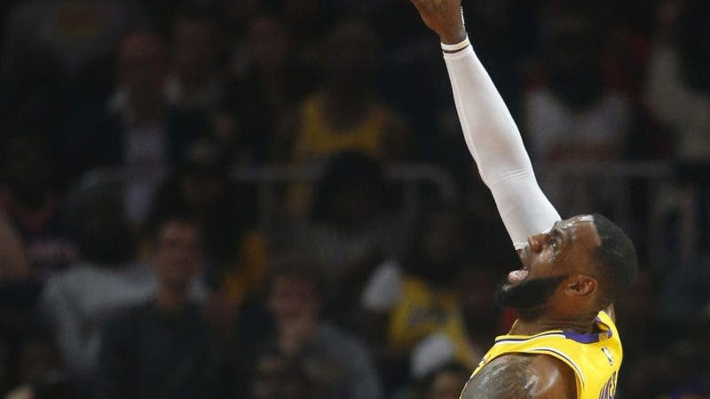 Los Angeles Lakers forward LeBron James (23) shoots during the second half of an NBA basketball game against the Atlanta Hawks Tuesday, Feb. 12, 2019, in Atlanta. The Hawks won 117-113. (AP Photo/John Bazemore)