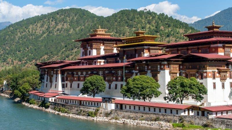 Punakha Dzong - Bhutan. Panoramic view of Punakha Dzong Fortress known as the Queen of Dzongs