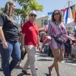 IMAGE DISTRIBUTED FOR PAPA JOHN'S - Victoria Russell, Papa John's chief diversity, equity and inclusion officer enjoys Calle Ocho with Miami franchisee Ricky Warman and team member Jackie Gonzalez-Cuba on Sunday, March 10, 2019, in Miami, Fla. (Jesus Aranguren/AP Images for Papa John's)