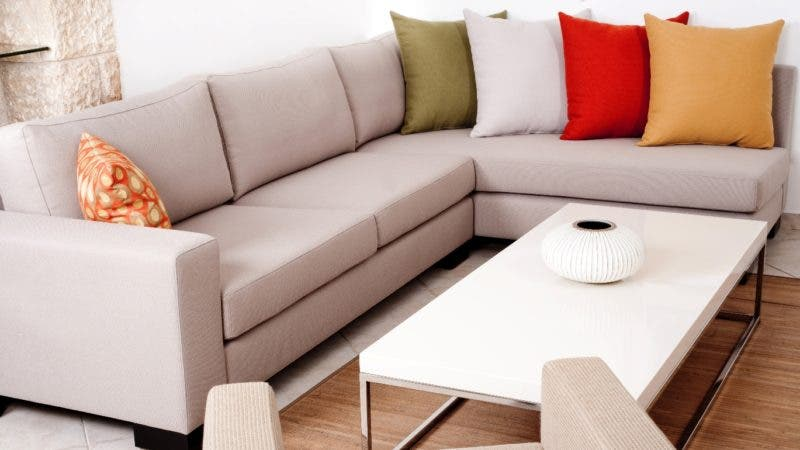 Coloured cushion in the modern couch