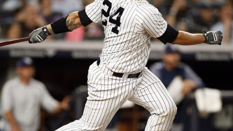 New York Yankees' Gary Sanchez hits a three-RBI double during the eighth inning of a baseball game against the Tampa Bay Rays, Friday, June 15, 2018, in New York. (AP Photo/Adam Hunger)
