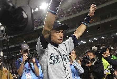 Seattle Mariners right fielder Ichiro Suzuki waves to fans after returning to the field after Game 2 of the Major League baseball opening series against the Oakland Athletics at Tokyo Dome in Tokyo, Thursday, March 21, 2019. The 45-year-old Mariners star announced his retirement Thursday night, shortly after waving goodbye at the Dome. (AP Photo/Toru Takahashi)