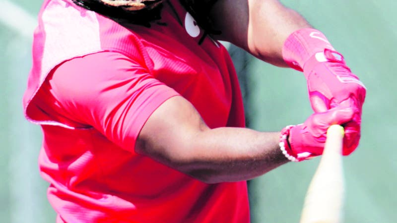Philadelphia Phillies' Maikel Franco bats at the Phillies spring training baseball facility, Tuesday, Feb. 19, 2019, in Clearwater, Fla. (AP Photo/Lynne Sladky)