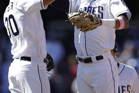 San Diego Padres shortstop Fernando Tatis Jr., right, celebrates with teammate first baseman Eric Hosmer after defeating the San Francisco Giants 2-0 in a baseball game, Thursday, March 28, 2019, in San Diego. (AP Photo/Gregory Bull)