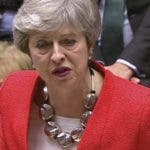 In this image taken from video, Britain's Prime Minister Theresa May speaks to lawmakers in parliament, London, Tuesday March 12, 2019. Britain's Parliament delivered a crushing defeat to Prime Minister Theresa May's European Union divorce deal Tuesday, plunging the Brexit process into chaos just 17 days before the U.K. is due to leave the bloc.  (House of Commons/PA via AP)