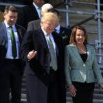 President Donald Trump and House Speaker Nancy Pelosi, walk down the steps of the U.S. Capitol following a Friends of Ireland luncheon on Capitol Hill, in Washington, Thursday, March 14, 2019. (AP Photo/Manuel Balce Ceneta)
