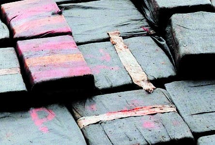 Colombian policemen unload packages of cocaine from a truck after a 7.5-ton seizure on June 14, 2008, in Tumaco, Narino department, Colombia. According to the authorities, the drug was found buried in the village of Llorente and belonged to members of Mellizo's gang.  AFP PHOTO/Mauricio Duenas
