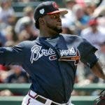 Atlanta Braves' Arodys Vizcaino pitches against the Miami Marlins in the sixth inning of a spring baseball exhibition game, Friday, March 15, 2019, in Kissimmee, Fla. (AP Photo/John Raoux)