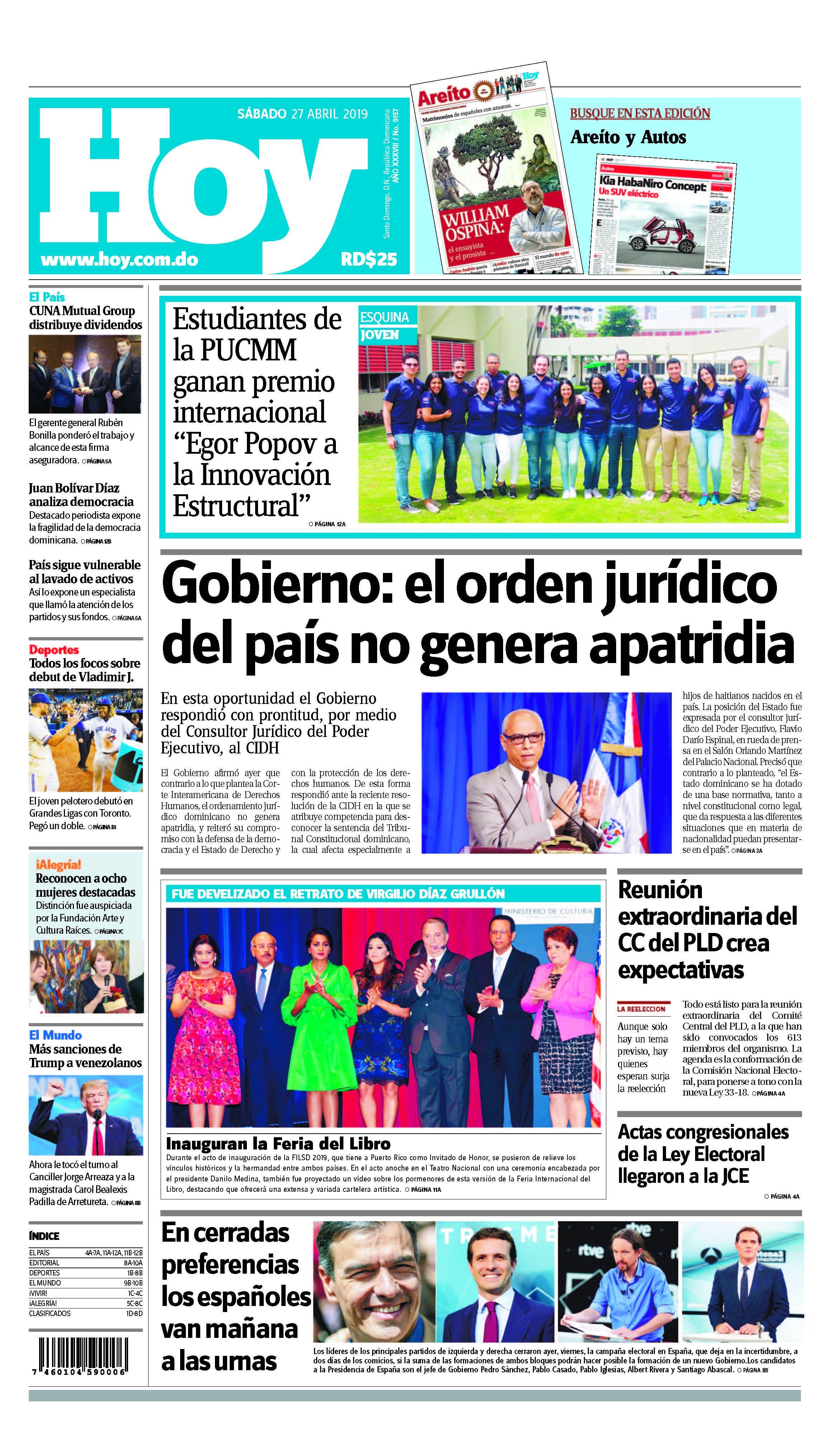 Edición impresa HOY sábado 27 de abril del 2019
