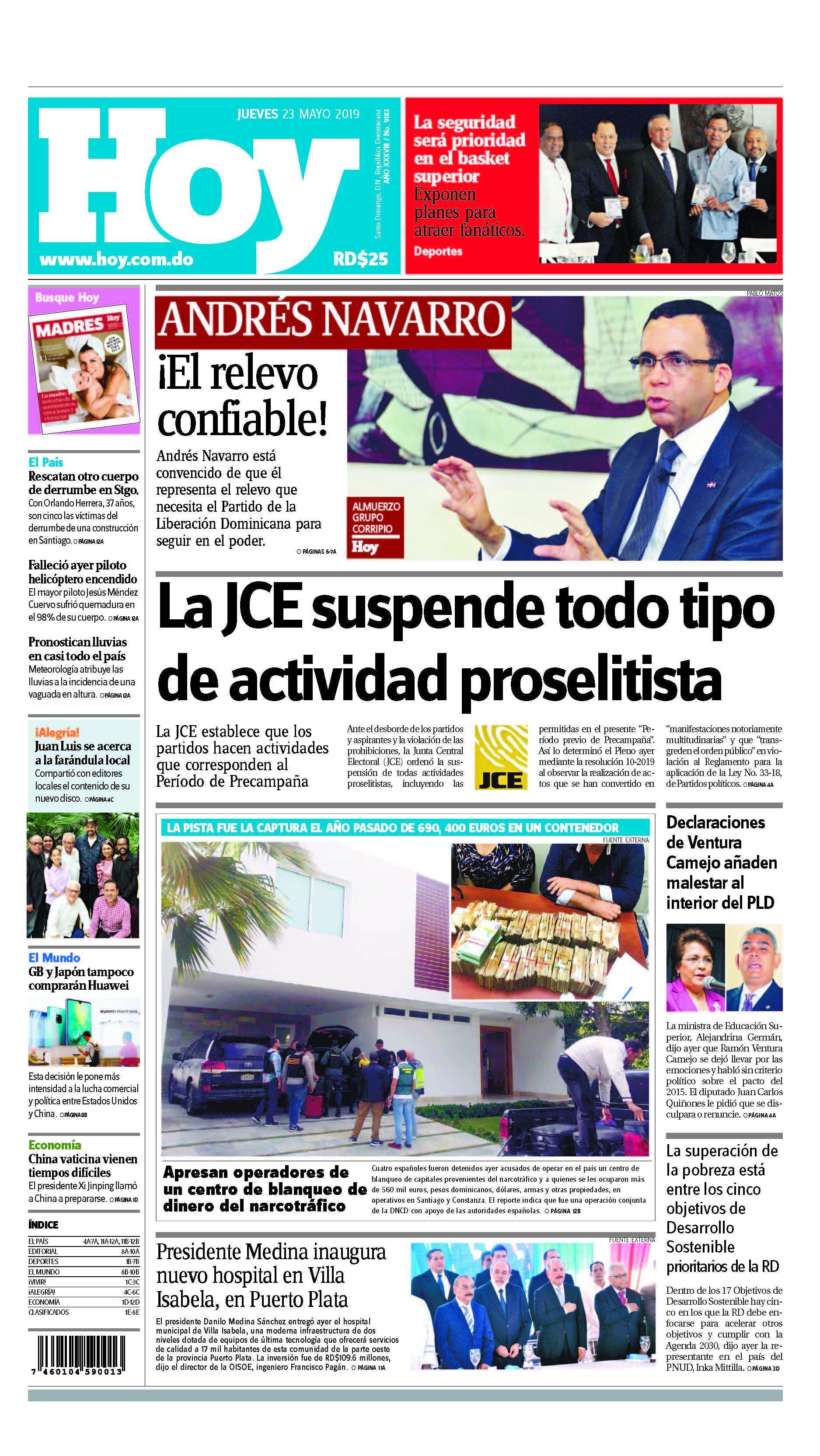 Edición impresa HOY jueves 23 de mayo del 2019