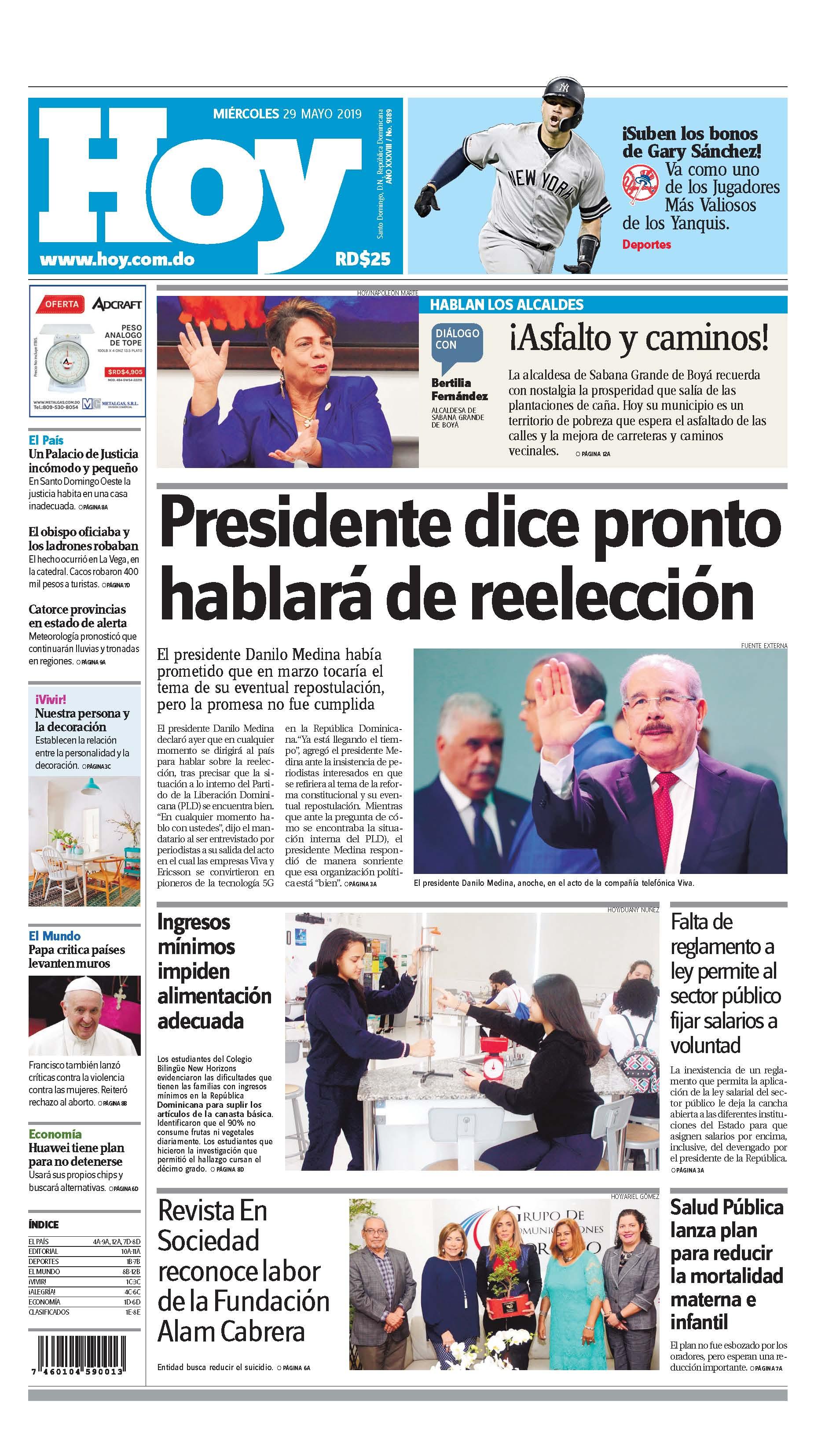 Edición impresa HOY miércoles 29 de de mayo del 2019