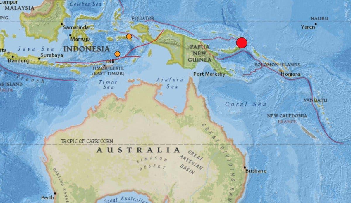 Terremoto de magnitud 7,5 sacude el este de Papúa Nueva Guinea