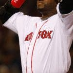David Ortiz of the Boston Red Sox reacts after lining out against the Los Angeles Angels of Anaheim during game three of the American League Division Series at Fenway Park on October 5, 2008 in Boston, Massachusetts.     AFP PHOTO/Jim Rogash/Getty Images == FOR NEWSPAPERS, INTERNET, TELCOS & TELEVISION USE ONLY ==