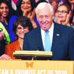 House Speaker Nancy Pelosi of Calif., front left, shakes hands with House Minority Whip Steny Hoyer, D-Md. front right, during an event on Capitol Hill in Washington, Tuesday, June 4, 2019, regarding the American Dream and Promise Act which offers a pathway to citizenship for those with Deferred Action for Childhood Arrivals (DACA), Temporary Protected Status (TPS), and Deferred Enforced Departure (DED) and similarly situated immigrants who have spent much of their lives in the United States. (AP Photo/Susan Walsh)