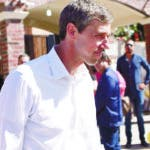 Democratic presidential candidate Beto O'Rourke leaves a migrant shelter, followed by the press on the Mexico-US border in Ciudad Juarez, Mexico, Sunday, June 30, 2019. In his first international trip as a White House hopeful, the former congressman traveled across the Rio Grande from his native El Paso, Texas, to meet immigrants who say they fled Central American violence and turmoil to seek asylum in the U.S., but were turned away at the border. (AP Photo/Christian Chavez)