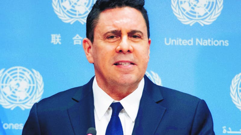 In this photo provided by the United Nations, Ambassador Samuel Moncada, Permanent Representative of the Bolivarian Republic of Venezuela to the United Nations, addresses the media at U.N. Headquarters. (Evan Schneider/The United Nations via AP)