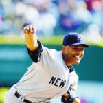 New York Yankees relief pitcher Mariano Rivera throws during the ninth inning of a baseball game against the Detroit Tigers in Detroit, Sunday, April 7, 2013. (AP Photo/Carlos Osorio)