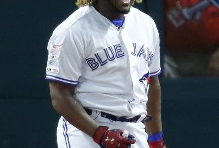 Vladimir Guerrero Jr., Toronto Blue Jays, reacts after hitting a home run during the Major League Baseball Home Run Derby, Monday, July 8, 2019, in Cleveland. The MLB baseball All-Star Game will be played Tuesday. (AP Photo/Ron Schwane)