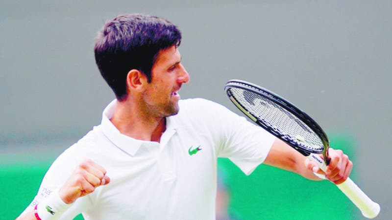 Wimbledon (United Kingdom), 05/07/2019.- Novak Djokovic of Serbia celebrates winning against Hubert Hurkacz of Poland during their third round match at the Wimbledon Championships at the All England Lawn Tennis Club, in London, Britain, 05 July 2019. (Tenis, Polonia, Reino Unido, Londres) EFE/EPA/NIC BOTHMA EDITORIAL USE ONLY/NO COMMERCIAL SALES