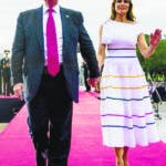 Washington (United States), 04/07/2019.- US President Donald Trump (L) and First Lady Melania Trump (R) leave a Fourth of July celebration event in Washington, DC, USA, 04 July 2019. The 'Salute to America' Fourth of July activities include remarks by US President Donald J. Trump, a parade, military flyovers and fireworks. (Incendio, Estados Unidos) EFE/EPA/AL DRAGO / POOL