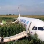 Ramenskoye (Russian Federation), 15/08/2019.- A handout still image taken from a video footage released by the Russian Investigative Committee shows investigators near the Ural Airlines A-321 passenger plane on the site of its emergency landing in a field outside Zhukovsky airport in Ramensky district of Moscow region, 15 August 2019. A-321 with 226 passengers and 7 crew members on board en route from Moscow to Simferopol made emergency landing after a right engine failure following the plane's colliding with seagulls shortly after take-off. Ten people were hospitalized following the accident. (Rusia, Moscú) EFE/EPA/RUSSIAN INVESTIGATIVE COMMITTEE HANDOUT HANDOUT EDITORIAL USE ONLY/NO SALES