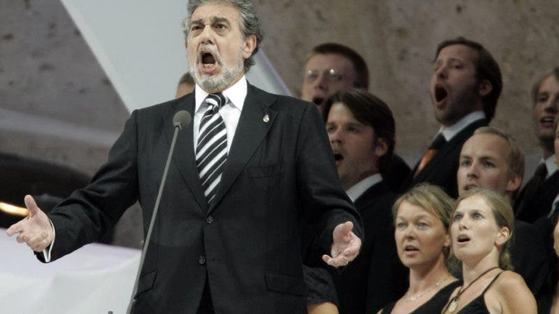 FILE - In this Sunday, July 9, 2006, file photo, Placido Domingo performs during the final of the soccer World Cup between Italy and France in the Olympic Stadium in Berlin. Eight opera singers and a dancer have told The Associated Press that they were sexually harassed by Domingo, one of the most celebrated and powerful men in opera. The women say the encounters took place over three decades, at venues that included opera companies where he held top managerial positions. (AP Photo/Luca Bruno)