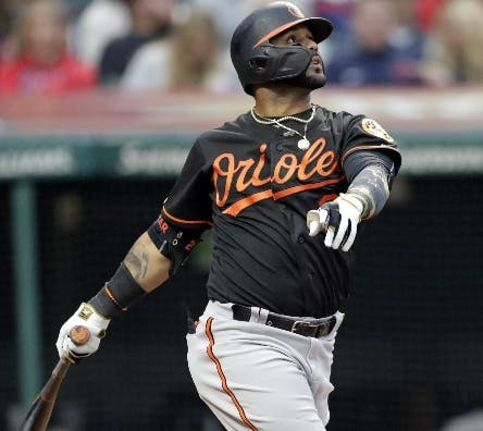 Baltimore Orioles' Jonathan Villar watches his three-run home run off Cleveland Indians starting pitcher Jefry Rodriguez in the third inning of a baseball game, Friday, May 17, 2019, in Cleveland. Rio Ruiz and Austin Wynns also scored on the play. (AP Photo/Tony Dejak)