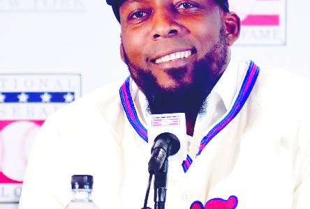 Baseball Hall of Fame inductee Vladimir Guerrero speaks during news conference Thursday, Jan. 25, 2018, in New York. (AP Photo/Frank Franklin II)
