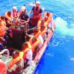 Off Sea (--), 12/08/2019.- A handout photo dated 12 August 2019 and made available by SOS Mediterranee 19 August 2019, showing rescue vessel Ocean Viking rescuing a group of migrants off the coast of Libya in the Mediterranean. The vessel, that has been at sea since 10 days, rescued a total of 356 migrants in three rescue missions. Over 500 refugees on two NGO vessels are still waiting to be allowed at land while Italy and Malta have denied them access to their harbors. (Italia, Libia) EFE/EPA/AVRA FIALAS HANDOUT HANDOUT EDITORIAL USE ONLY/NO SALES