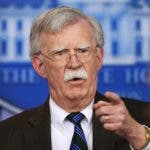 FILE - In this Nov. 27, 2018, file photo, National security adviser John Bolton speaks to reporters during the daily press briefing in the Brady press briefing room at the White House in Washington. In President Donald Trump's Washington, matters of war and peace are decided in 280-character bursts. It's up to John Bolton to massage them into a foreign policy.  (AP Photo/Manuel Balce Ceneta, File)