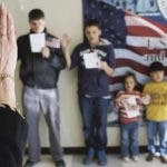 NEW YORK, NY - JANUARY 29: Children participate in a U.S. citizenship ceremony at the U.S. Citizenship and Immigration Services (USCIS), district office on January 29, 2013 in New York City. Some 118,000 immigrants applied for U.S. citizenship and 2,500 children received citizenship certificates in the New York City dictrict in 2012. Although underage children of naturalized immigrants usually receive U.S. citizenship, they must go through a process at the USCIS in order to receive legal certificates. Children born in the United States are American, regardless of the immigrant status of their parents.   John Moore/Getty Images/AFP== FOR NEWSPAPERS, INTERNET, TELCOS & TELEVISION USE ONLY ==