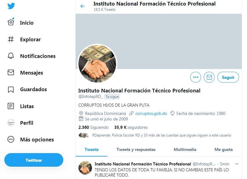Hackean la cuenta de Twitter del INFOTEP y publican varios mensajes contra Danilo Medina