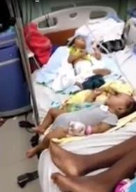 Video: Denuncian en hospital Arturo Grullón hay hasta cuatro y cinco niños en una sola cama