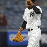 New York Yankees starting pitcher Domingo German heads to the dugout while leaving in the seventh inning of a baseball game against the Minnesota Twins, Sunday, May 5, 2019, in New York. (AP Photo/Noah K. Murray)