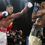 Cuba's Sullivan Barrera punches Dominican Republic's Felix Valera during the 10th round of a light heavyweight boxing match Saturday, Nov. 25, 2017, in New York. Barrera won the fight. (AP Photo/Frank Franklin II)