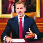 This handout picture released on October 3, 2017 by the Spanish Royal House (Casa Real) shows Spain's King Felipe VI addressing the nation on October 3, 2017 in Madrid, as the country grapples with its biggest political crisis in decades over an independence drive in Catalonia.