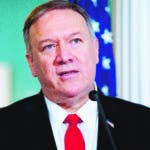 Washington (United States), 12/09/2019.- US Secretary of State Mike Pompeo delivers remarks to members of the news media at the State Department in Washington, DC, USA, 13 September 2019. Secretary Pompeo met with Foreign Minister of Brazil Ernesto Araujo, during which he took the opportunity to commend Brazil's support of Israel and recognition of opposition leader of Venezuela Juan Guaido. (Brasil, Estados Unidos) EFE/EPA/MICHAEL REYNOLDS