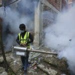 A Nepalese worker fumigates an area in an attempt to control the spread of mosquito-borne diseases in Kathmandu, Nepal, Thursday, Sept. 5, 2019. According to the Epidemiology and Disease Control Division under the Department of Health, the number of dengue cases has shot up by more than 65% across the country in the last one week with the disease spreading rapidly in urban areas. (AP Photo/Niranjan Shrestha)