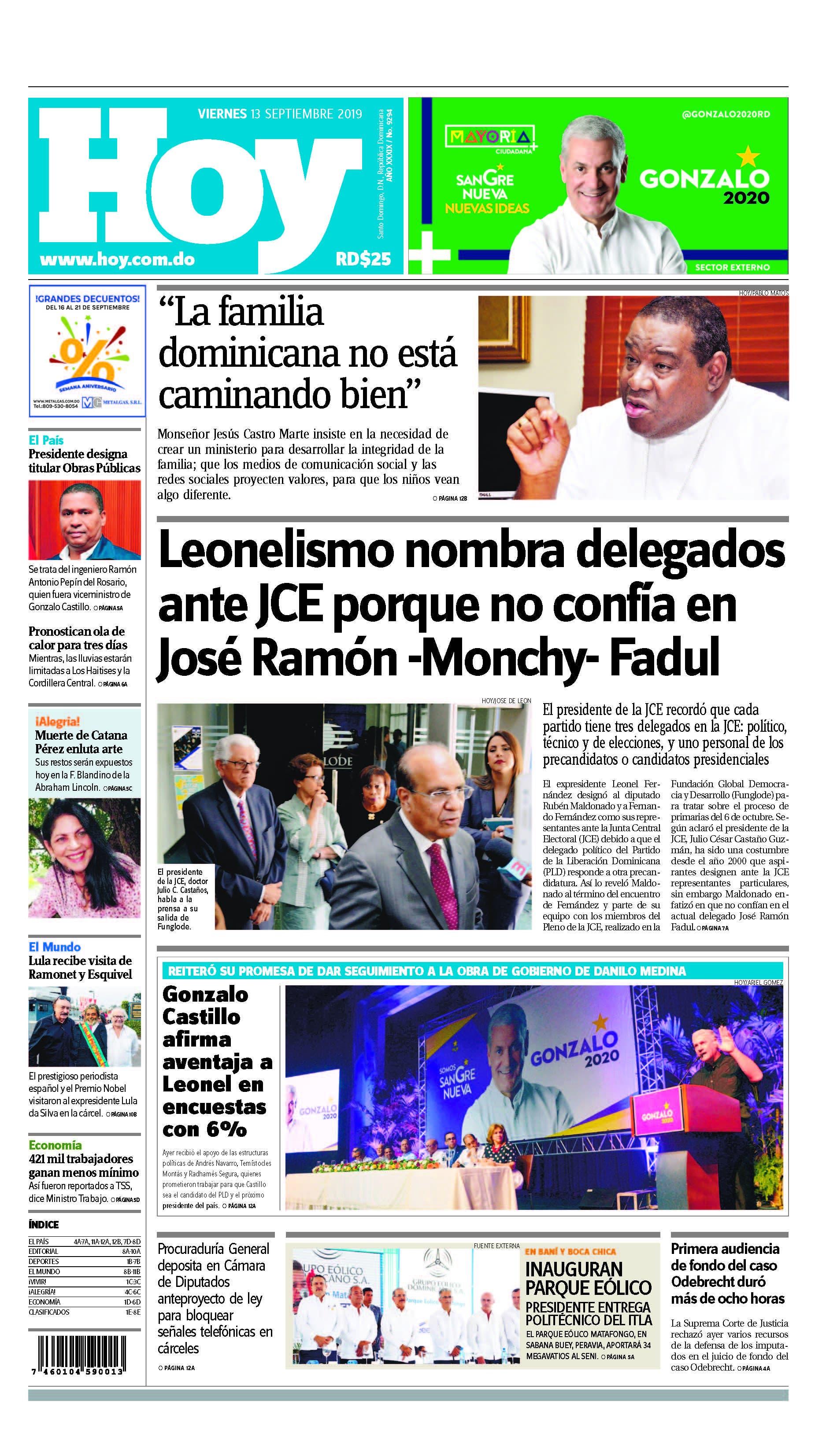 Edición impresa HOY viernes 13 de septiembre del 2019