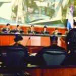El Pais/ .El presidente de la Suprema Corte de Justicia (SCJ) y del Consejo del Poder Judicial (CPJ), magistrado Luis Henry Molina Peña ,preside el Juicio del caso de Odebretd, en la sala agusta de la Suprema ,Hoy/Jose Francisco .17-10-2019