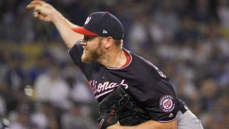 Washington Nationals starting pitcher Stephen Strasburg throws to a Los Angeles Dodgers batter during the first inning in Game 2 of a baseball National League Division Series on Friday, Oct. 4, 2019, in Los Angeles. (AP Photo/Mark J. Terrill)