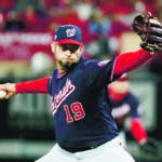Washington Nationals starting pitcher Anibal Sanchez throws during the second inning of Game 1 of the baseball National League Championship Series against the St. Louis Cardinals Friday, Oct. 11, 2019, in St. Louis. (AP Photo/Mark Humphrey)