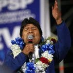 President Evo Morales speaks to supporters during a closing campaign rally in El Alto, on the outskirts of La Paz, Bolivia, Wednesday, Oct. 16, 2019. Morales will seek a fourth term in general elections on Oct. 20. (AP Photo/Jorge Saenz)