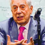 "Peruvian Nobel prize-winning writter, Mario Vargas Llosa speaks during the presentation of his book ""La llamada de la tribu"" (The call of the tribe), in the framework of the XXXI International Book Fair of Bogota, in Colombia on April 20, 2018.  Argentina is this year's guest of honour at the fair. / AFP / Raul ARBOLEDA"