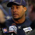 MILWAUKEE, WI - APRIL 04: Erick Almonte #22 of the Milwaukee Brewers talks to reporters before the home opener against the Atlanta Braves at Miller Park on April 4, 2011 in Milwaukee, Wisconsin. (Photo by Jonathan Daniel/Getty Images)